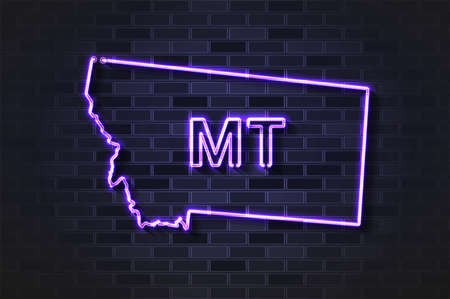Montana map glowing neon lamp or glass tube. Realistic vector illustration. Black brick wall, soft shadow.