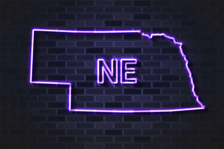 Nebraska map glowing neon lamp or glass tube. Realistic vector illustration. Black brick wall, soft shadow.