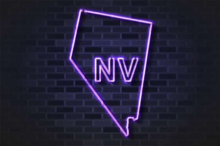 Nevada map glowing neon lamp or glass tube. Realistic vector illustration. Black brick wall, soft shadow.  イラスト・ベクター素材