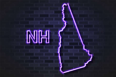 New Hampshire map glowing neon lamp or glass tube. Realistic vector illustration. Black brick wall, soft shadow.