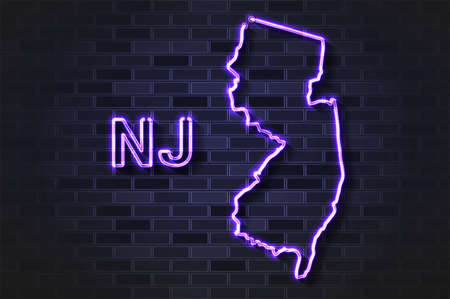 New Jersey map glowing neon lamp or glass tube. Realistic vector illustration. Black brick wall, soft shadow.  イラスト・ベクター素材