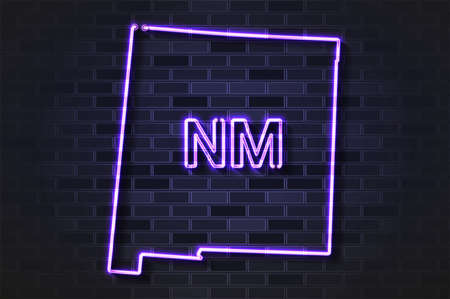 New Mexico map glowing neon lamp or glass tube. Realistic vector illustration. Black brick wall, soft shadow.