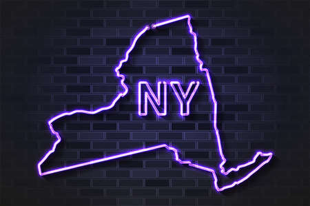 New York map glowing neon lamp or glass tube. Realistic vector illustration. Black brick wall, soft shadow.