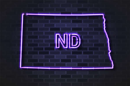 North Dakota map glowing neon lamp or glass tube. Realistic vector illustration. Black brick wall, soft shadow.  イラスト・ベクター素材