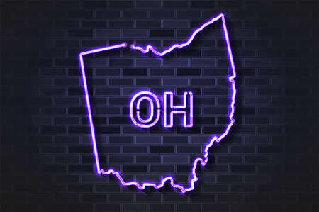 Ohio map glowing neon lamp or glass tube. Realistic vector illustration. Black brick wall, soft shadow.