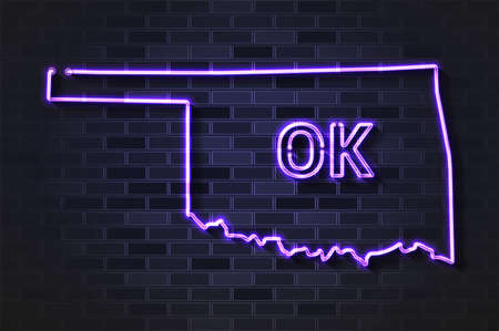Oklahoma map glowing neon lamp or glass tube. Realistic vector illustration. Black brick wall, soft shadow.