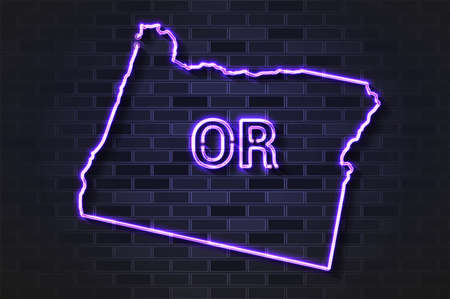 Oregon map glowing neon lamp or glass tube. Realistic vector illustration. Black brick wall, soft shadow.