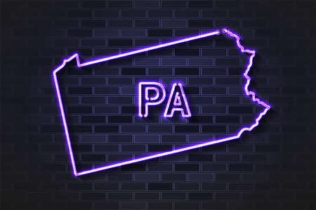 Pennsylvania map glowing neon lamp or glass tube. Realistic vector illustration. Black brick wall, soft shadow.