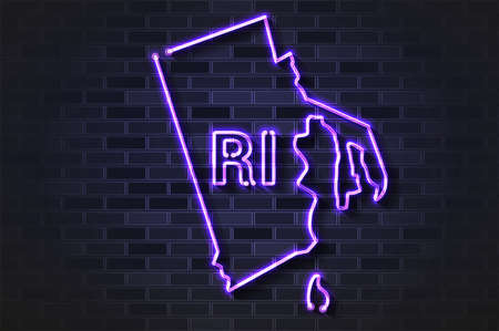 Rhode Island map glowing neon lamp or glass tube. Realistic vector illustration. Black brick wall, soft shadow.