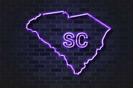 South Carolina map glowing neon lamp or glass tube. Realistic vector illustration. Black brick wall, soft shadow.