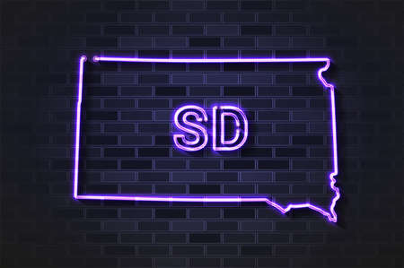 South Dakota map glowing neon lamp or glass tube. Realistic vector illustration. Black brick wall, soft shadow.  イラスト・ベクター素材