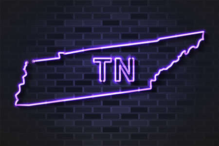 Tennessee map glowing neon lamp or glass tube. Realistic vector illustration. Black brick wall, soft shadow.