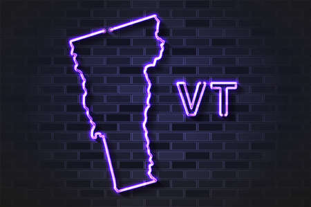 Vermont map glowing neon lamp or glass tube. Realistic vector illustration. Black brick wall, soft shadow.  イラスト・ベクター素材