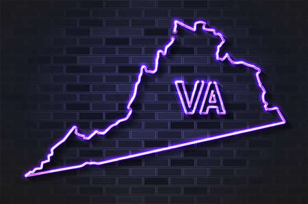 Virginia map glowing neon lamp or glass tube. Realistic vector illustration. Black brick wall, soft shadow.  イラスト・ベクター素材