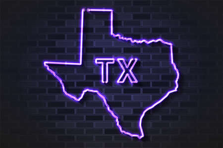 Texas map glowing neon lamp or glass tube. Realistic vector illustration. Black brick wall, soft shadow.
