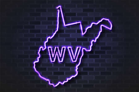 West Virginia map glowing neon lamp or glass tube. Realistic vector illustration. Black brick wall, soft shadow.