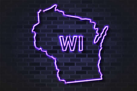 Wisconsin map glowing neon lamp or glass tube. Realistic vector illustration. Black brick wall, soft shadow.  イラスト・ベクター素材