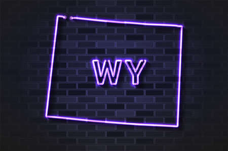 Wyoming map glowing neon lamp or glass tube. Realistic vector illustration. Black brick wall, soft shadow.