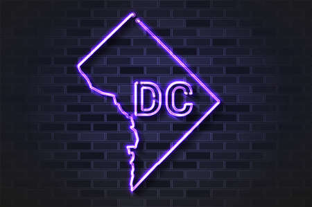 Washington DC or District of Columbia map glowing neon lamp or glass tube. Realistic vector illustration. Black brick wall, soft shadow.