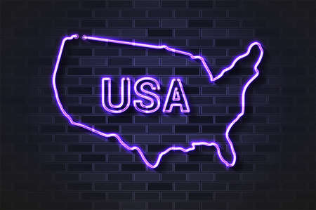 United States of America map glowing neon lamp or glass tube. Realistic vector illustration. Black brick wall, soft shadow.