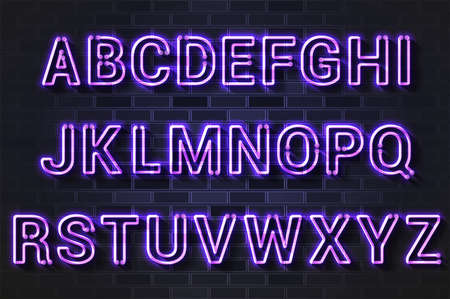Glowing purple neon lamp alphabet. Realistic vector illustration. Black brick wall, soft shadow.  イラスト・ベクター素材