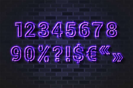 Glowing violet neon lamp numbers and special characters. Realistic vector illustration. Black brick wall, soft shadow.