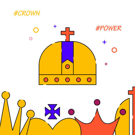 Royal crown filled line vector icon, simple illustration, royal crown related bottom border.