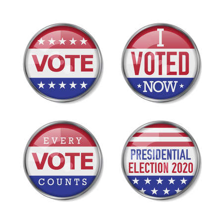 Voting badge realistic vector set. 2020 United States presidential election. Vector illustration. 向量圖像