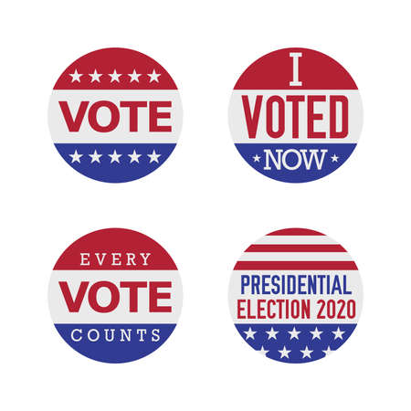 Voting badge vector set. 2020 United States presidential election. Vector illustration.