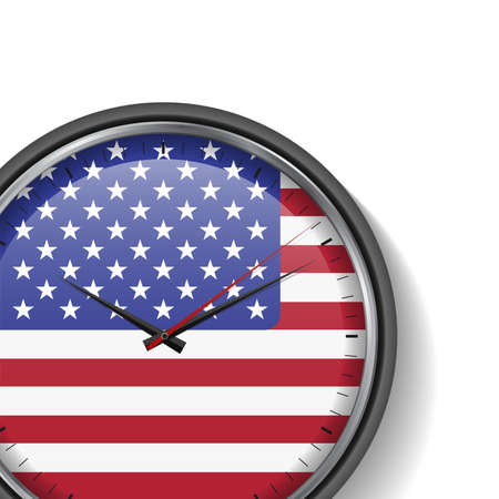 US flag clock with shadow on white background. Time to make a decision, America. Vector illustration. 向量圖像