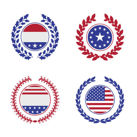 Laurel wreath with American symbols. 2020 United States presidential election. Vector illustration. 向量圖像