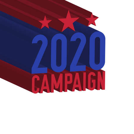 2020 campaign. United States presidential election 3D text. Vector illustration.