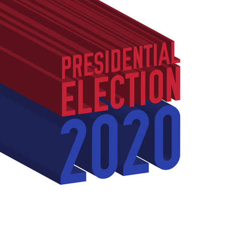 US Presidential election 2020 3D text. Vector illustration.