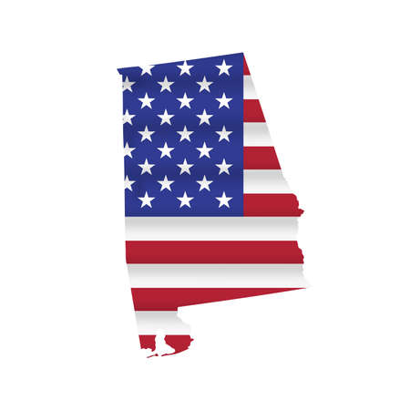 Alabama US state flag map isolated on white. Vector illustration.