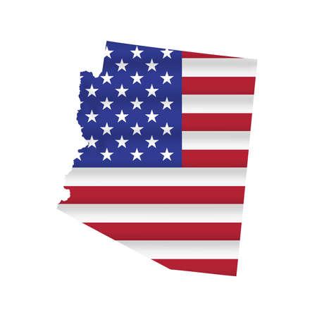 Arizona US state flag map isolated on white. Vector illustration. 向量圖像