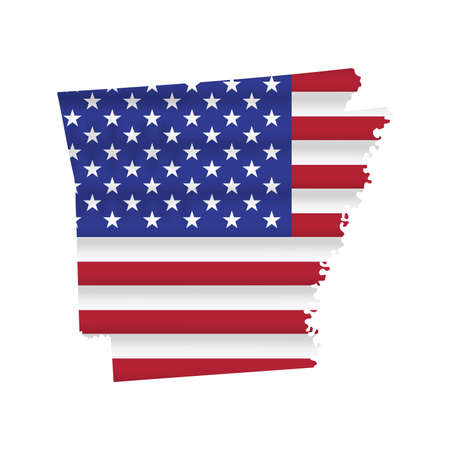 Arkansas US state flag map isolated on white. Vector illustration.