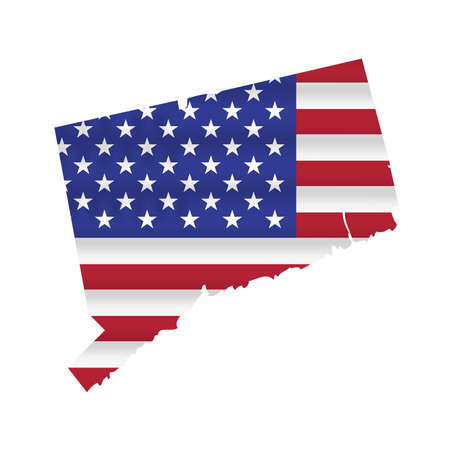 Connecticut US state flag map isolated on white. Vector illustration.