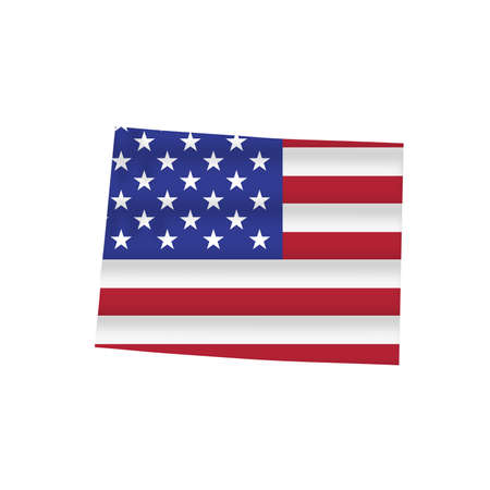 Colorado US state flag map isolated on white. Vector illustration.
