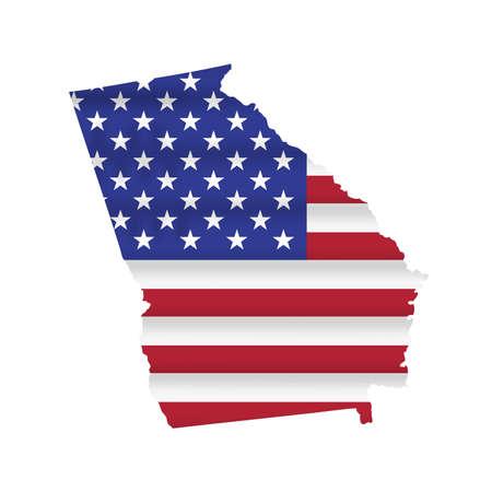 Georgia US state flag map isolated on white. Vector illustration. 向量圖像