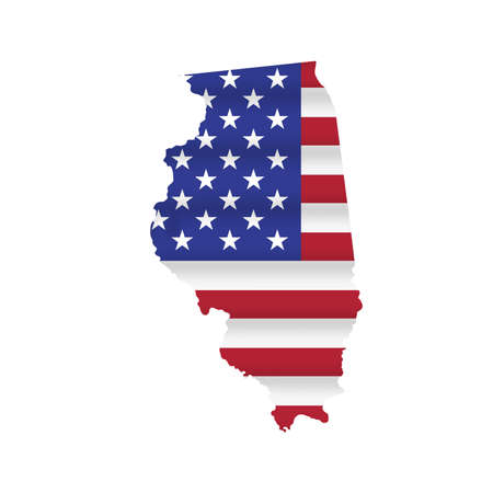Illinois US state flag map isolated on white. Vector illustration.
