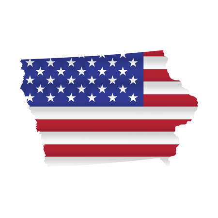 Iowa US state flag map isolated on white. Vector illustration. 向量圖像