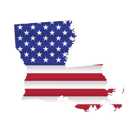 Louisiana US state flag map isolated on white. Vector illustration. 向量圖像