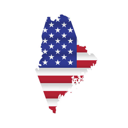 Maine US state flag map isolated on white. Vector illustration. 向量圖像