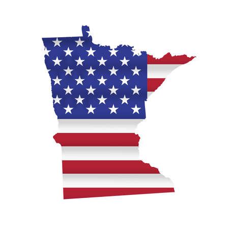 Minnesota US state flag map isolated on white. Vector illustration.