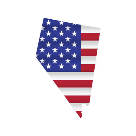 Nevada US state flag map isolated on white. Vector illustration.