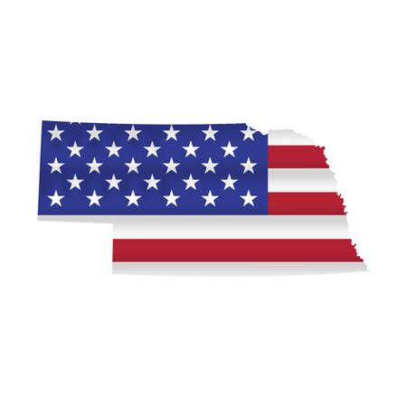 Nebraska US state flag map isolated on white. Vector illustration. 向量圖像
