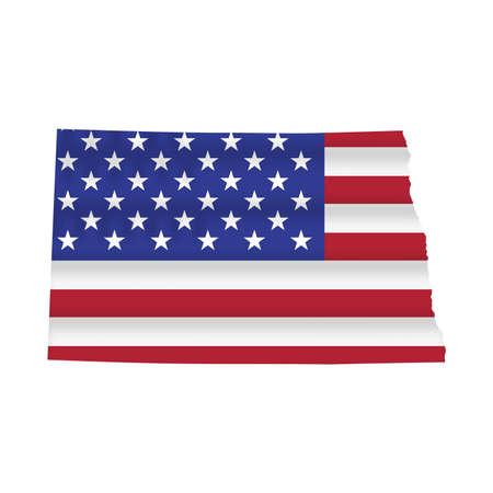 North Dakota US state flag map isolated on white. Vector illustration.