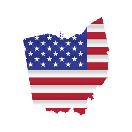 Ohio US state flag map isolated on white. Vector illustration. 向量圖像