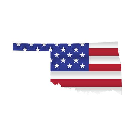 Oklahoma US state flag map isolated on white. Vector illustration.