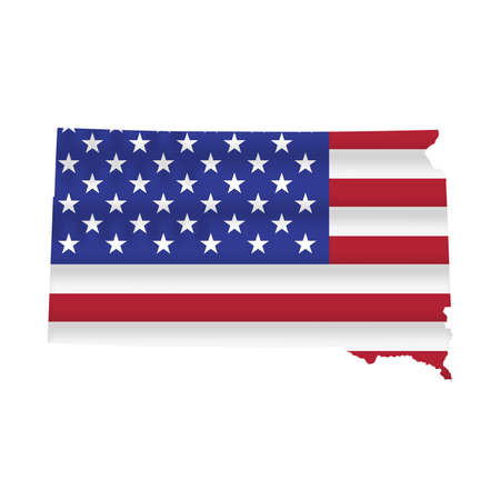 South Dakota US state flag map isolated on white. Vector illustration.